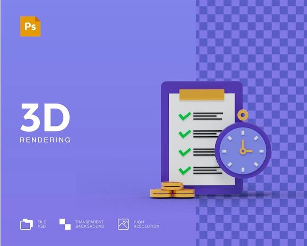 Pianificazione degli obiettivi della lista di controllo della qualità della sveglia 3d