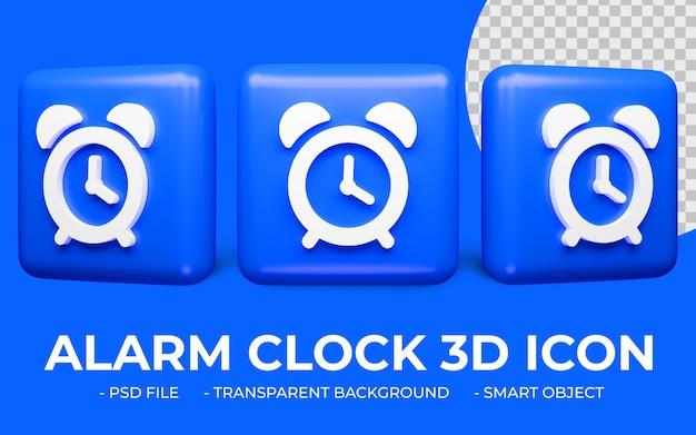 Progettazione dell'icona dell'orologio della sveglia 3d isolata