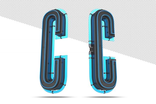 Alfabeto 3d con effetto luce al neon blu