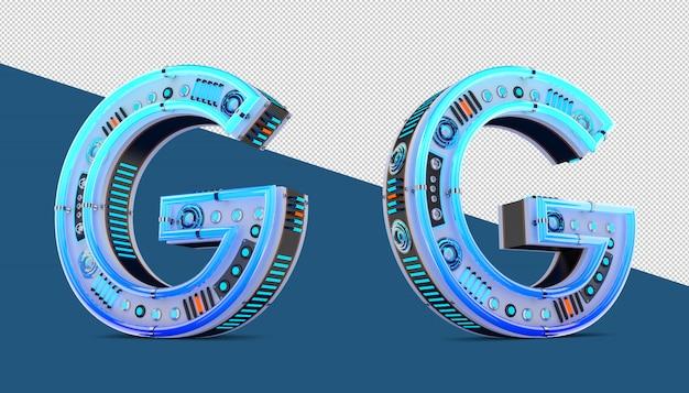 Alfabeto 3d con neon blu ed effetto luce al neon.