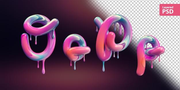 Alfabeto 3d con fusione di vernice colorata. lettere o o p p.