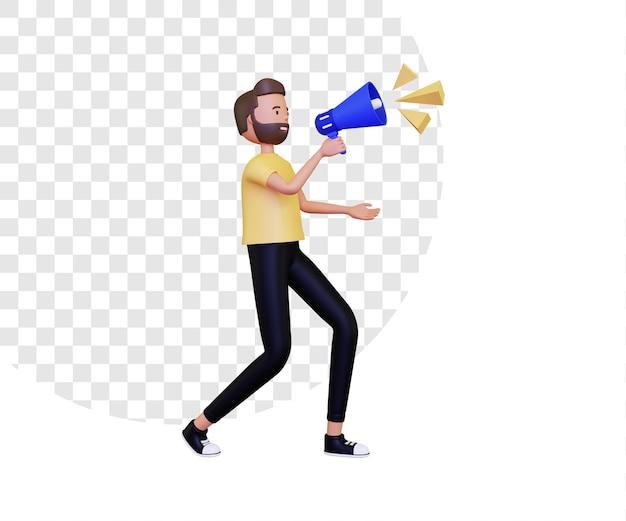 Annuncio 3d con un personaggio maschile che tiene in mano un megafono