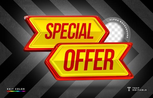 Rendering 3d a forma di freccia con offerta di vendita speciale e design del cartellino del prezzo