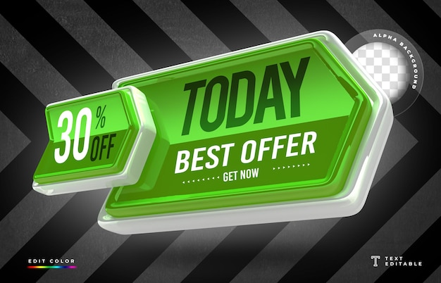 Rendering 3d a forma di freccia con la migliore offerta di oggi e il design del cartellino del prezzo