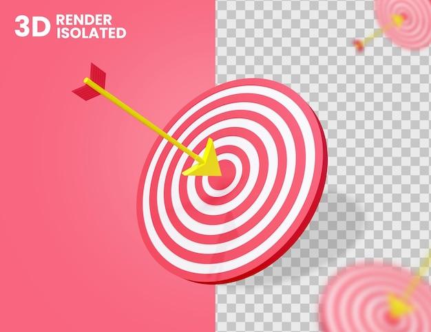 Freccia 3d sull'icona di destinazione isolata