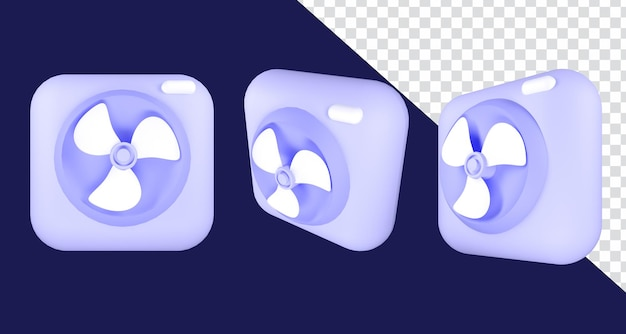 3d asset render illustrazione icona fan colori pastello