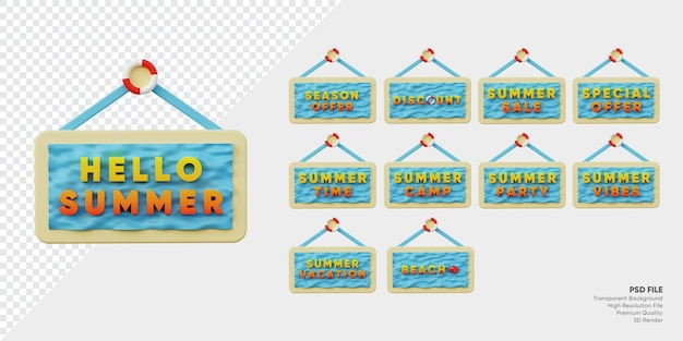Etichetta del festival estivo distintivo 3d con collezione di set di onde e sabbia dell'oceano