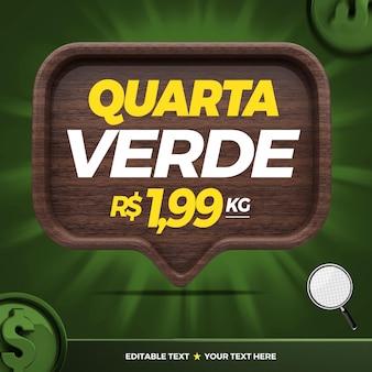 3d banner verde quarto per la campagna di marketing in brasile