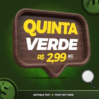 Banner 3d lasciato giovedì verde per la campagna di marketing in brasile