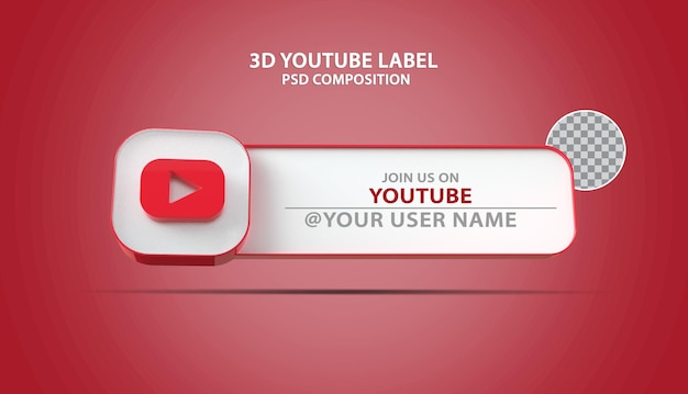 Banner 3d icona youtube con casella di testo etichetta
