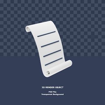 3d fattura fattura ricevuta pagamento icona illustrazione oggetto reso