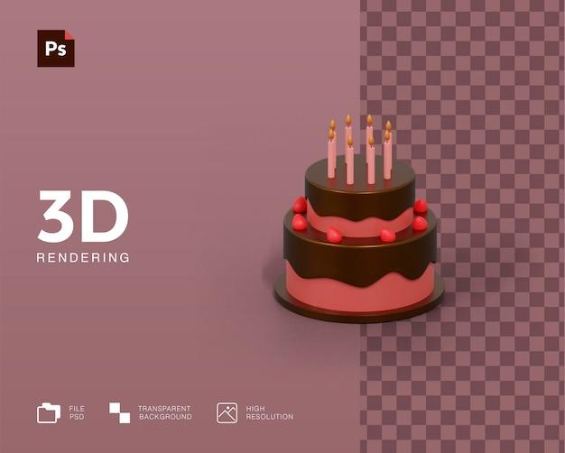 Rendering 3d dell'illustrazione della torta di compleanno