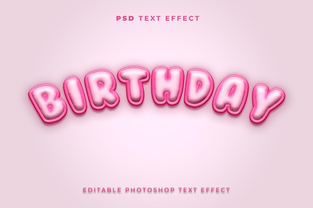 Modello di effetto testo compleanno 3d con colore rosa