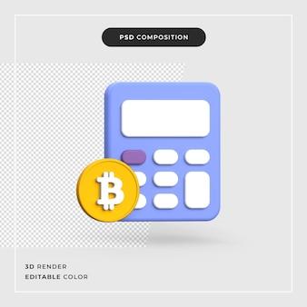 3d bitcoin con calcolatrice crypto valuta concept
