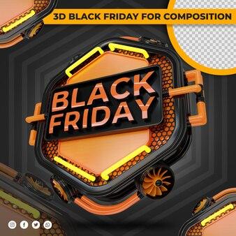 Etichetta del venerdì nero 3d con arancione chiaro per la composizione