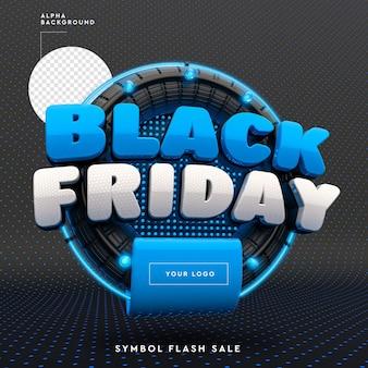 Logo 3d black friday con rendering di cerchi e luci