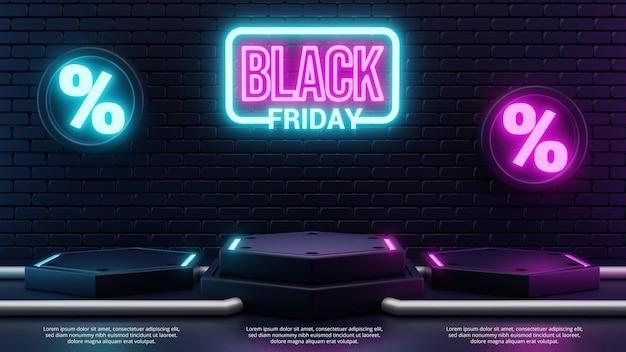 3d black friday podio bagliore di luce al neon