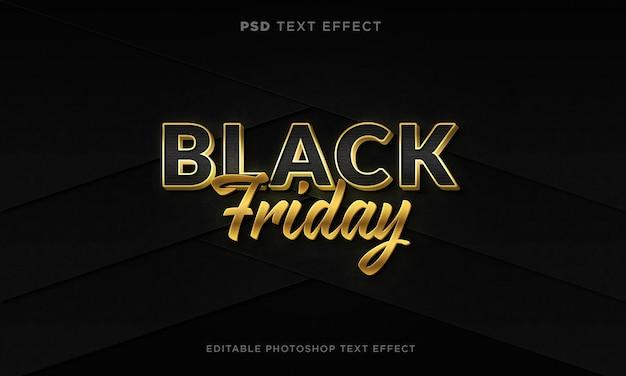 Modello di effetto di testo del black friday 3d con effetto dorato