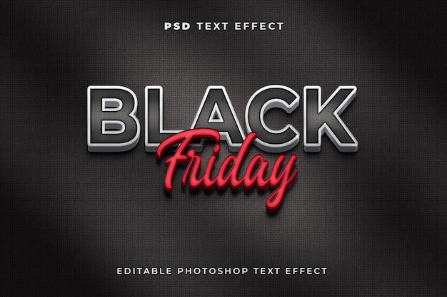 Modello di effetto di testo del black friday 3d