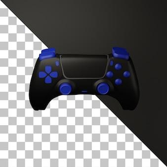 Controller di gioco nero 3d con illustrazione del pulsante blu