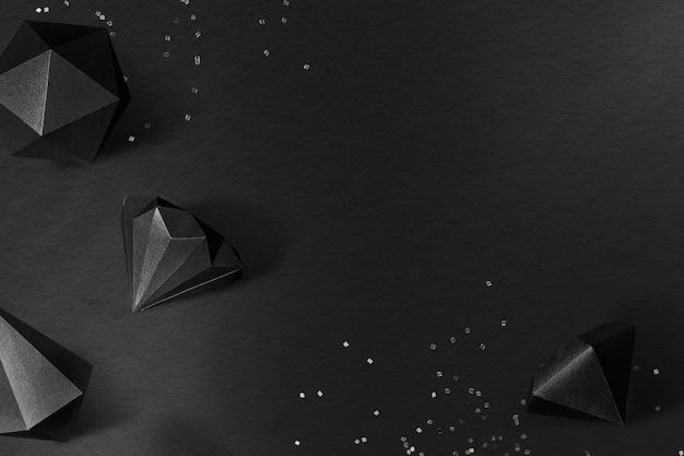 Icosaedro nero 3d e sfondo con motivo bipiramidale esagonale asimmetrico