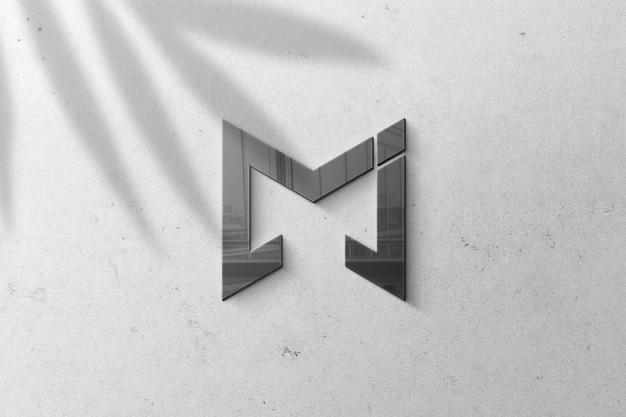 Modello 3d logo nero sul muro