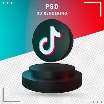 3d nero ruotato icona tiktok design rendering isolato