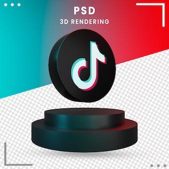 3d nero ruotato logo icona tiktok design rendering isolato