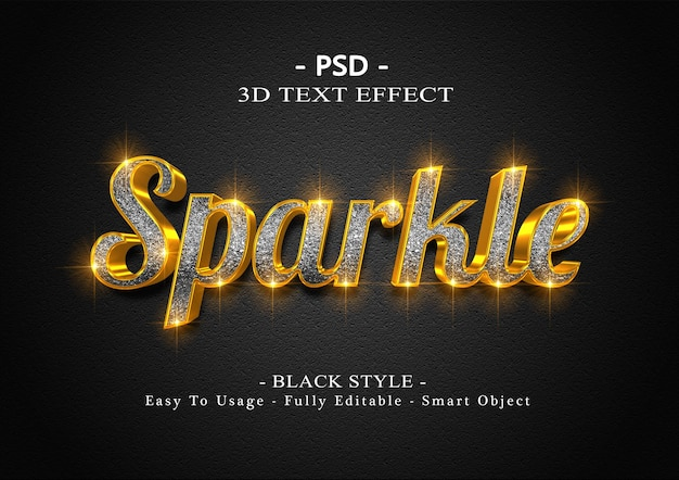 Effetto di testo 3d nero scintillante