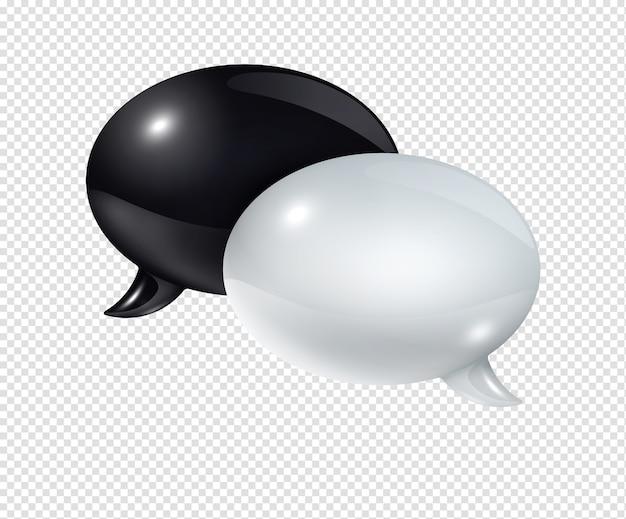 Bolle di discorso in bianco e nero 3d isolate
