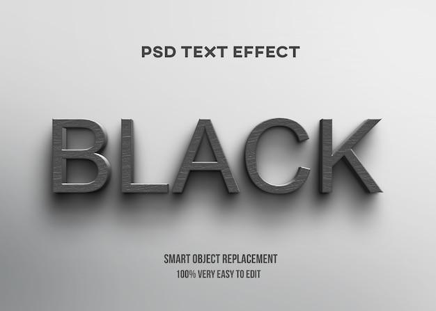 Effetto di testo in legno nero 3d