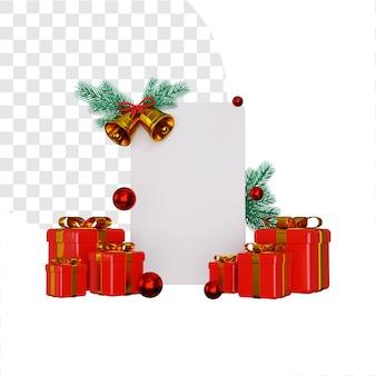 Banner vuoto 3d per gli auguri di natale con una pila di scatole regalo