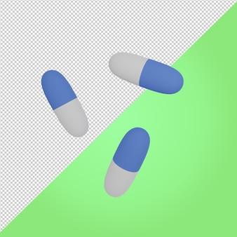 3d pillole blu medicina icona medica