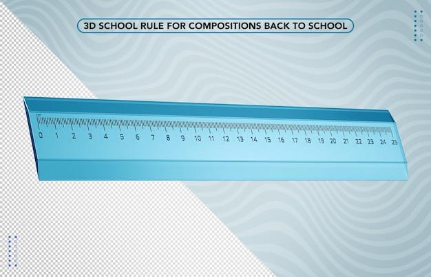 Righello scuola blu 3d per il ritorno a scuola