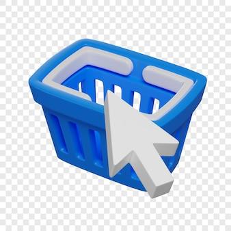 Cestino della spesa blu 3d e concetto di acquisto online del cursore della freccia illustrazione isolata
