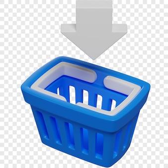Il cestino della spesa blu 3d e la freccia giù firmano il concetto di acquisto online isolato illustrazione