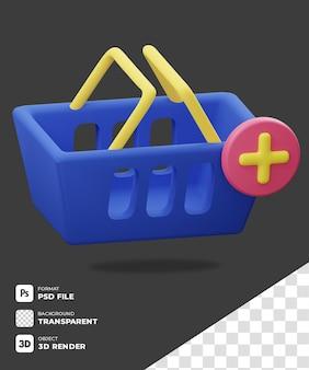 Icona del carrello della spesa 3d blu con sfondo trasparente