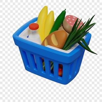 Il cestino della spesa blu 3d con i prodotti alimentari in linea concetto di acquisto ha isolato l'illustrazione