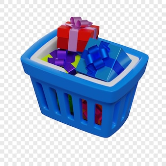 Cestino della spesa blu 3d con l'illustrazione isolata vacanza di concetto di acquisto online dei regali