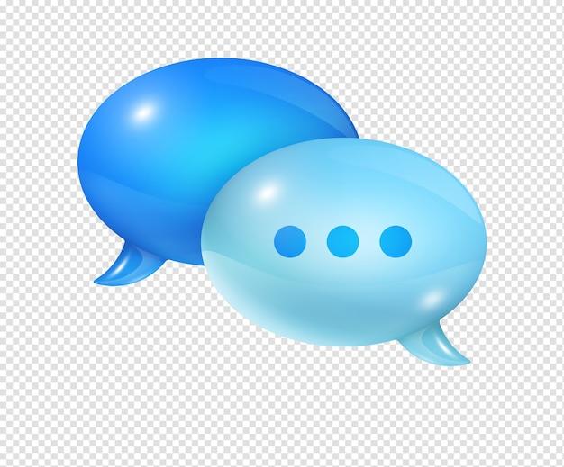 Bolle di discorso blu 3d isolate su bianco