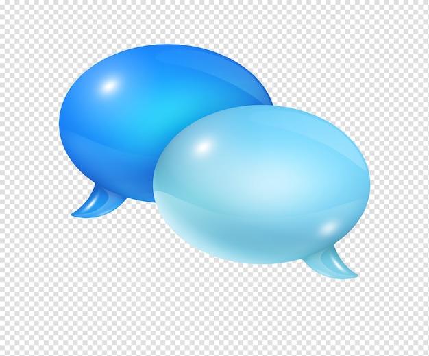 Bolle di discorso blu 3d isolate