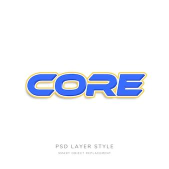 Effetto di stile testo blu 3d con contorno arancione
