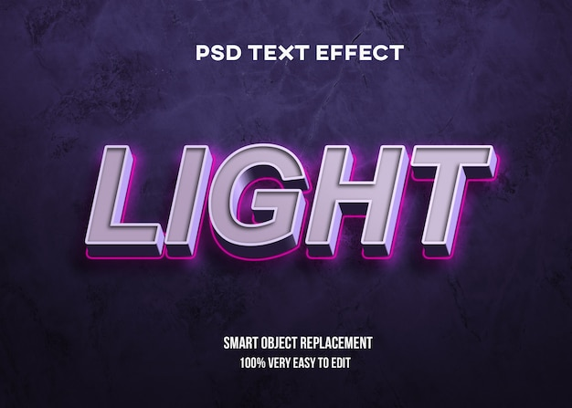 Grassetto 3d con effetto di testo al neon chiaro