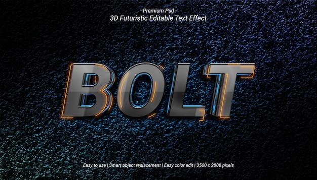 Modello di effetto di testo 3d bolt
