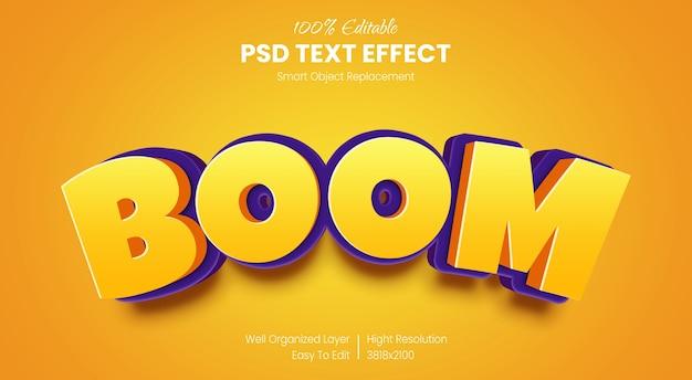 Modello di effetto stile testo boom 3d