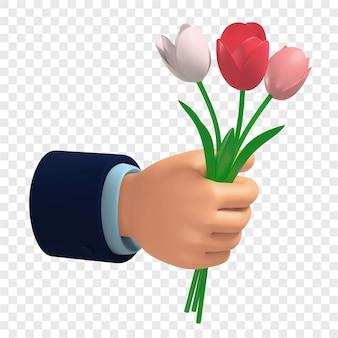 3d bouquet di tulipani multicolori in mano dare fiori isolati 3d illustratiion