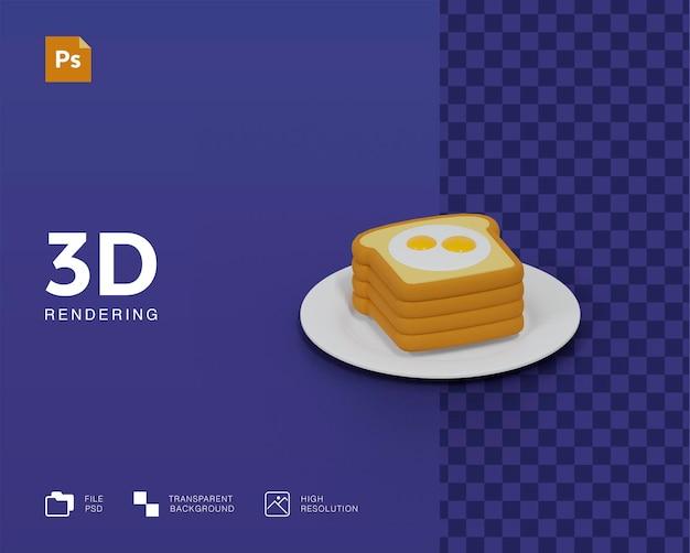 Pane 3d con illustrazione di uova