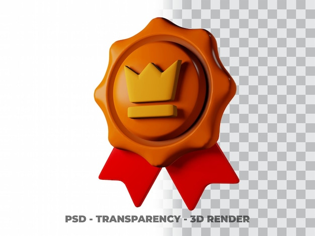 Icona della medaglia di bronzo 3d con sfondo trasparente