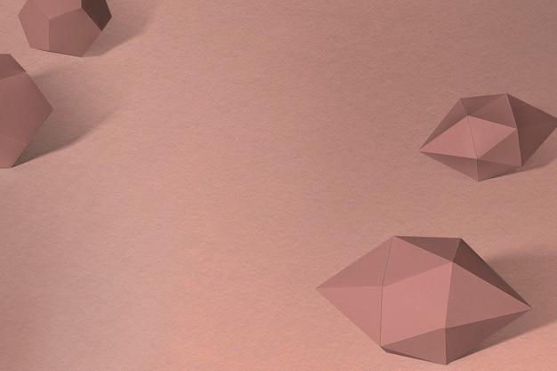 Bipiramide esagonale allungata marrone 3d e elemento di design dodecaedro pentagono grigio
