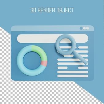 Pagina del browser 3d con lente di ingrandimento nella vista frontale